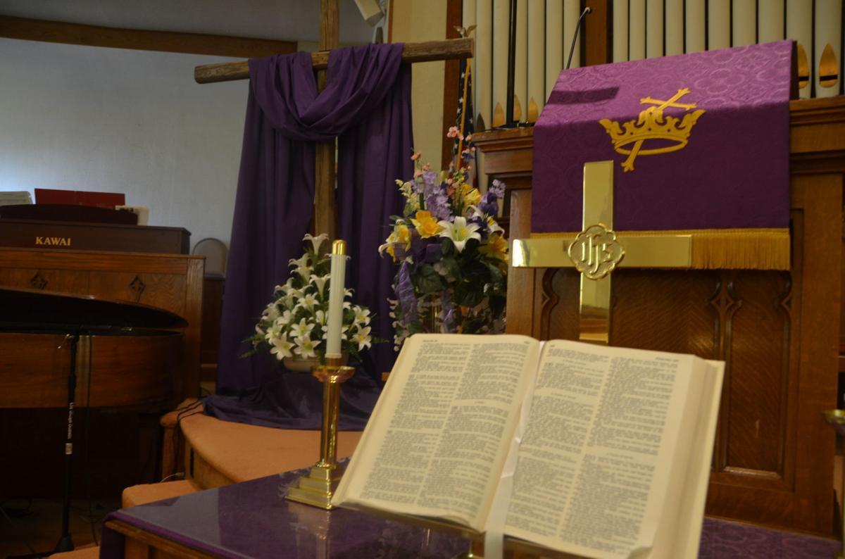FBC Shinnston cross and flowers