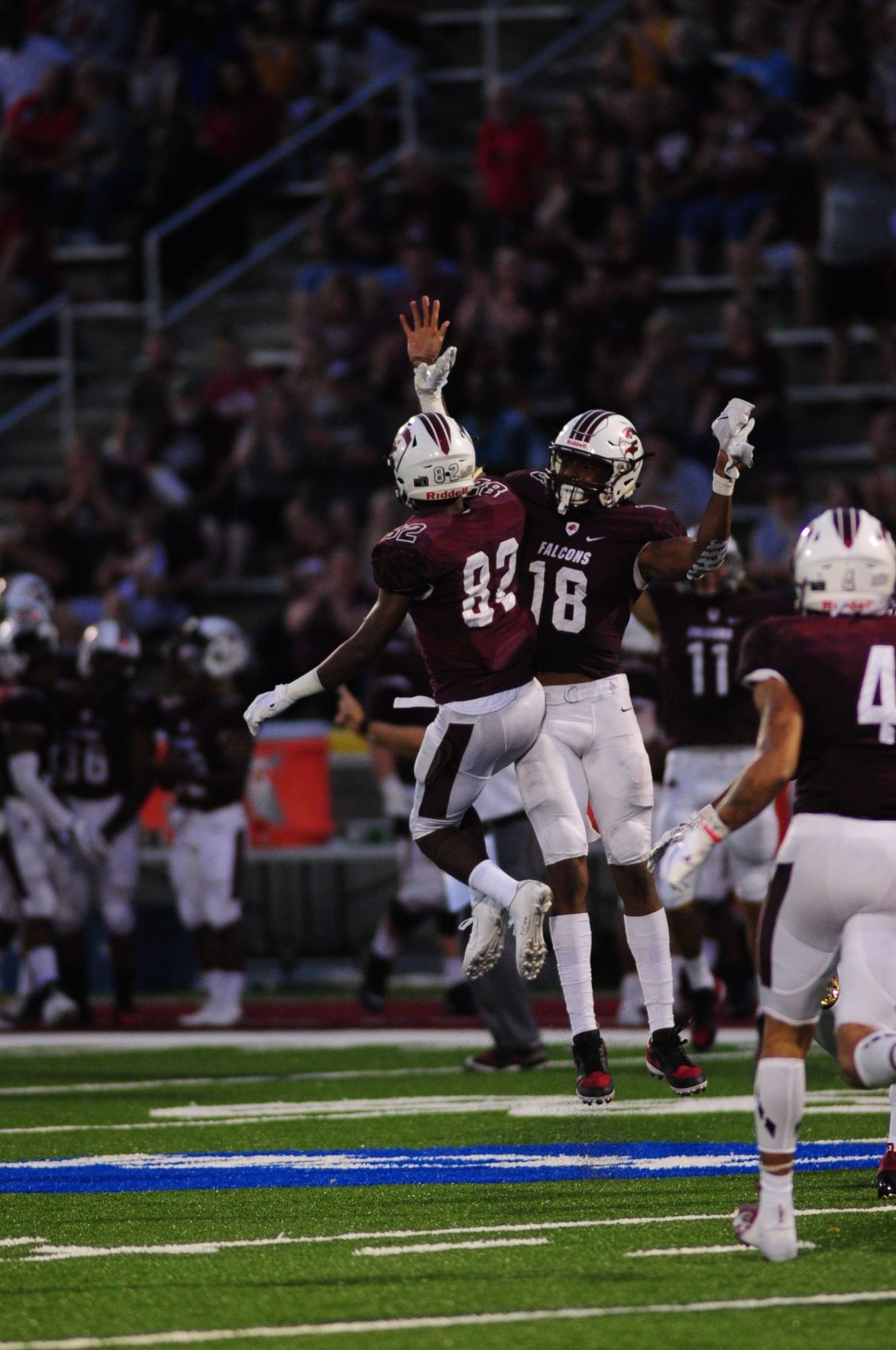 Andre Hall  celebrates a Falcon TD with Jeff Iweh
