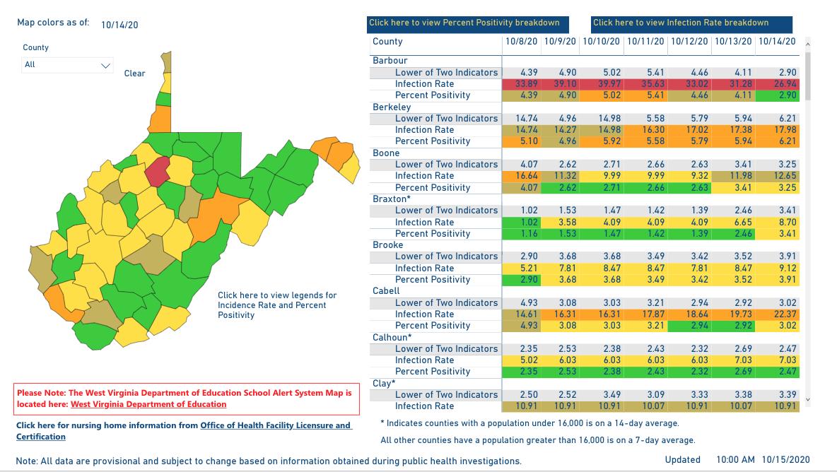 County Alert Map 10-15