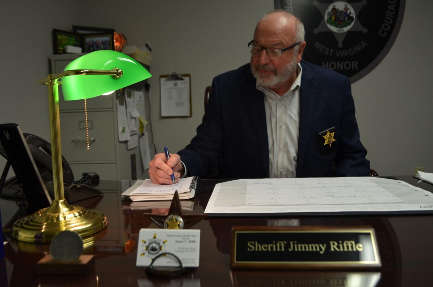 Riffle at desk