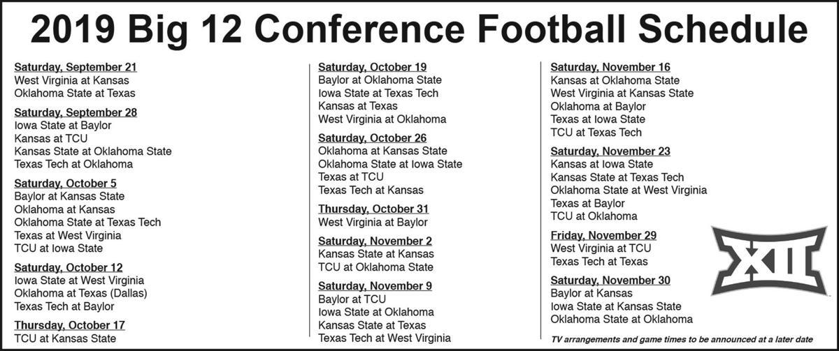 2019 Big 12 Football Schedule West Virginia's 2019 football schedule announced     wvnews.com
