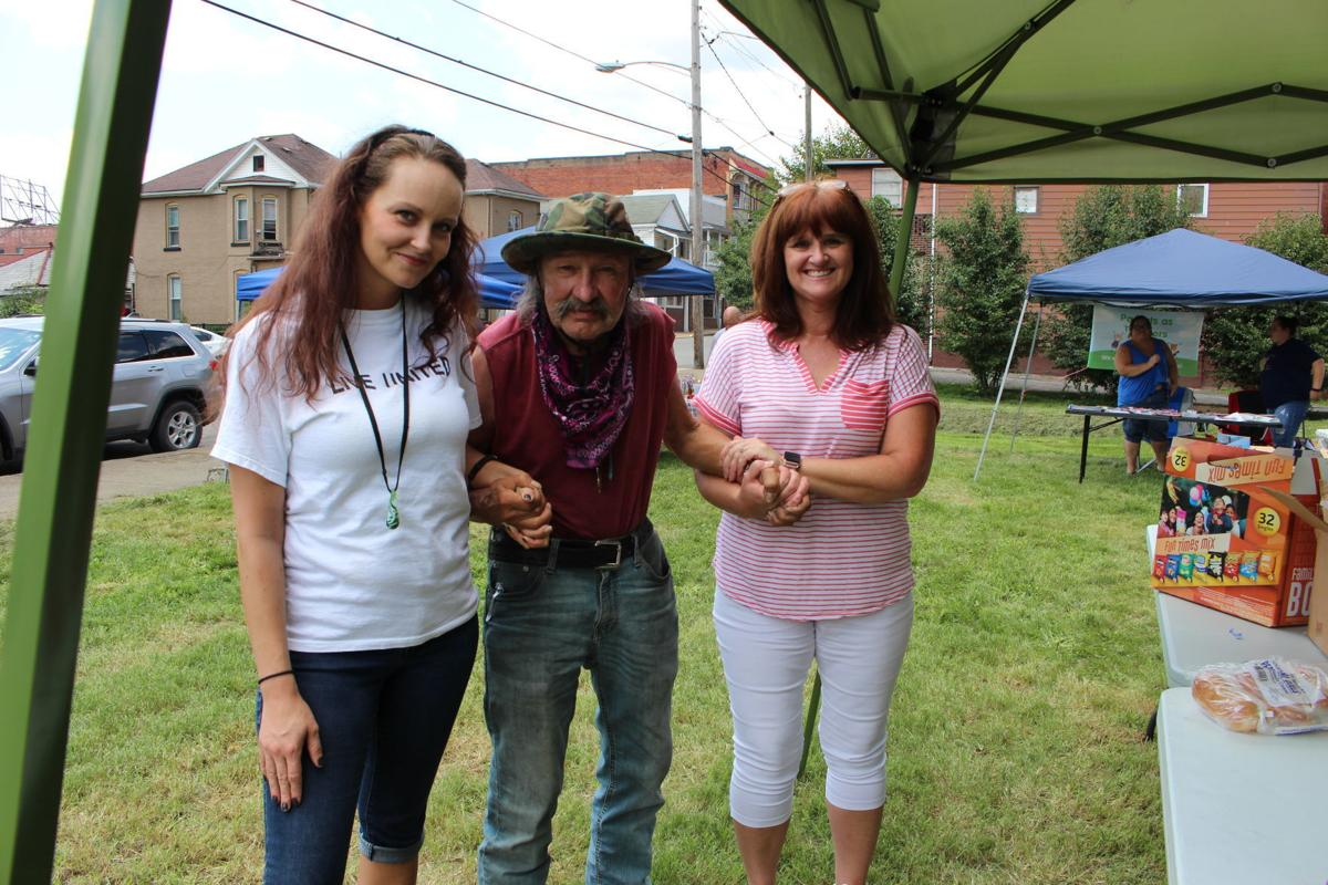 People at homeless services block party