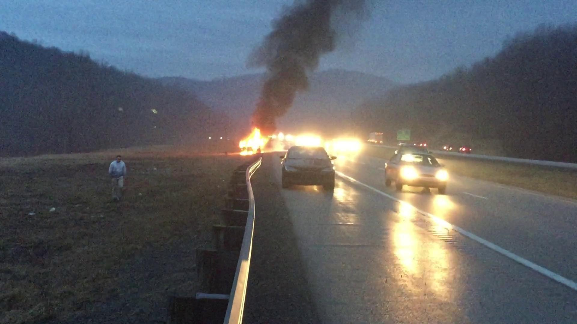 Car catches fire along I-79 in Clarksburg, WV, Sunday evening