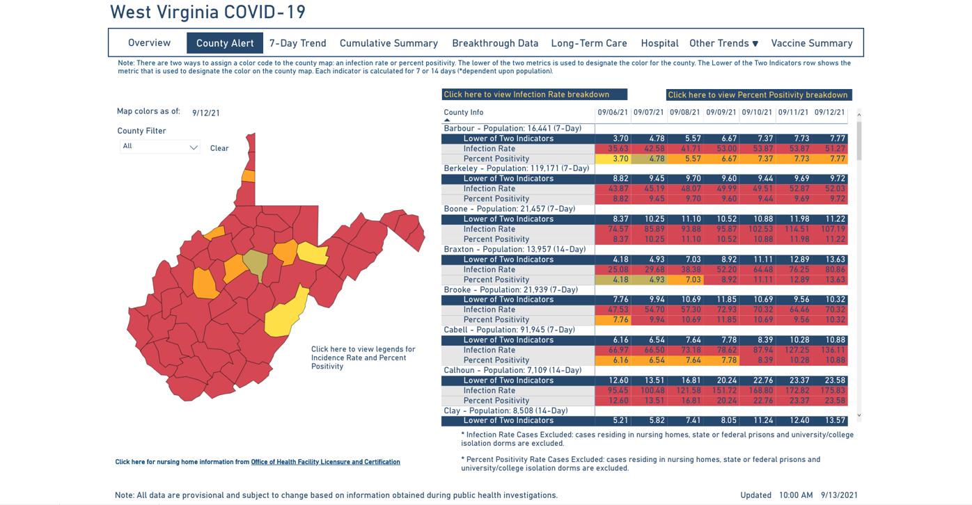 County Alert Map 09-13