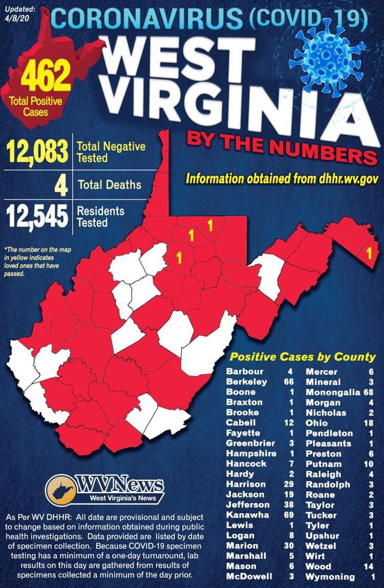 WV COVID-19 Map 04-08