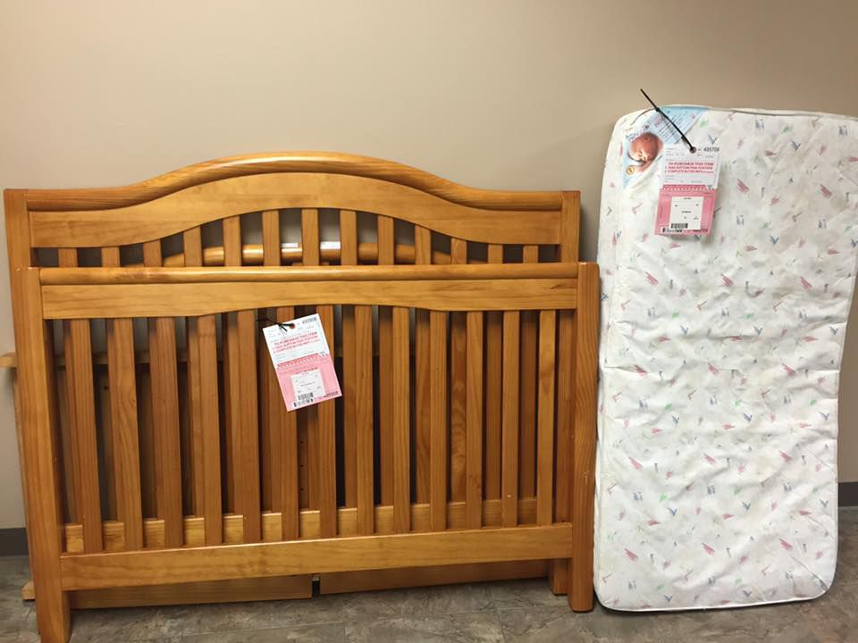 Crib and mattress tagged for sale