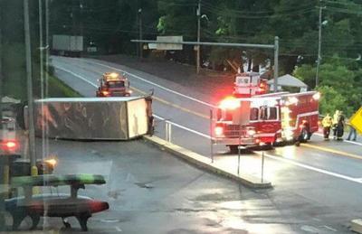 Box truck, tractor trailer collide on U.S. 219