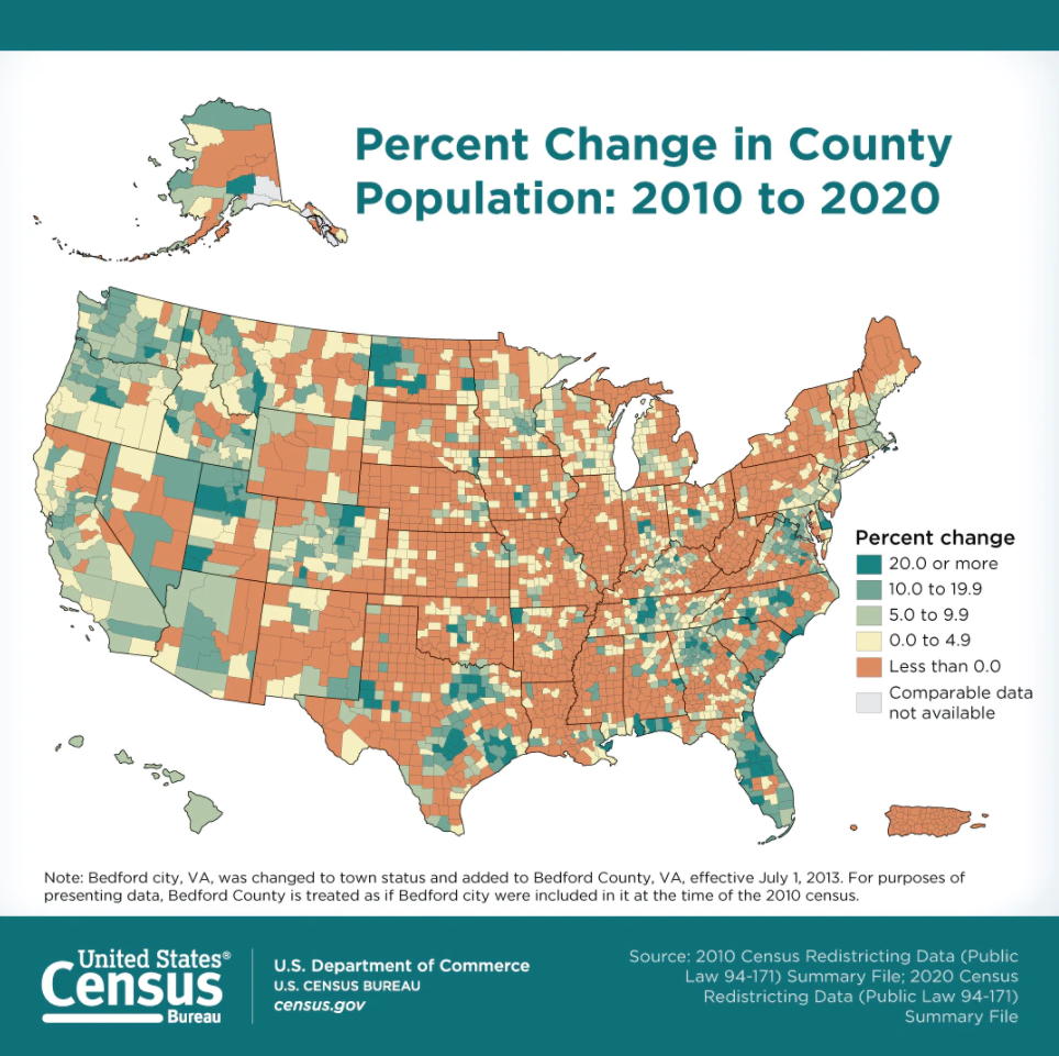 U.S. Population Percentage Change 2010-2020