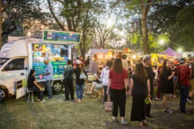 71472958 - food truck festival blurred on purpose