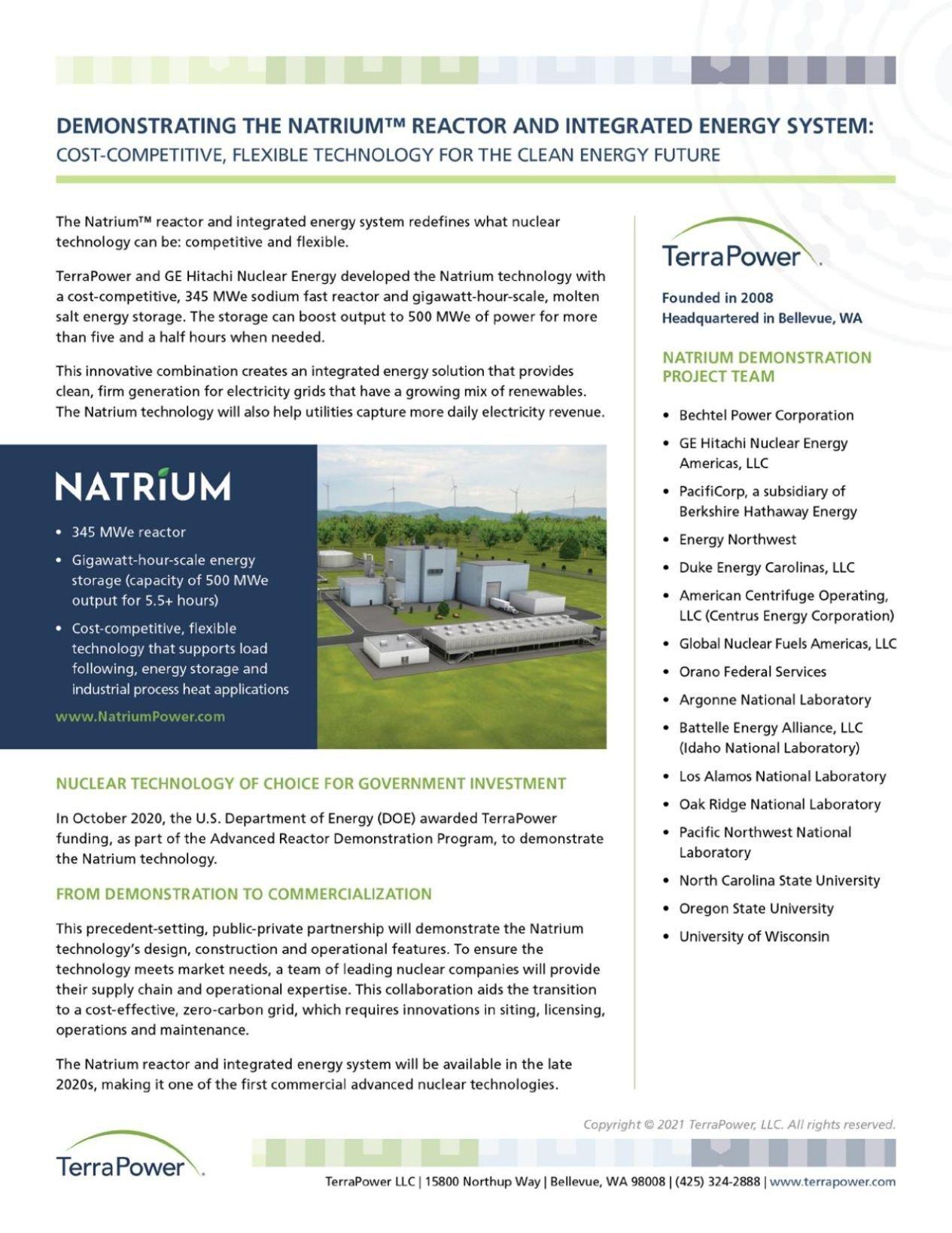 Fact Sheet: The Natrium Reactor