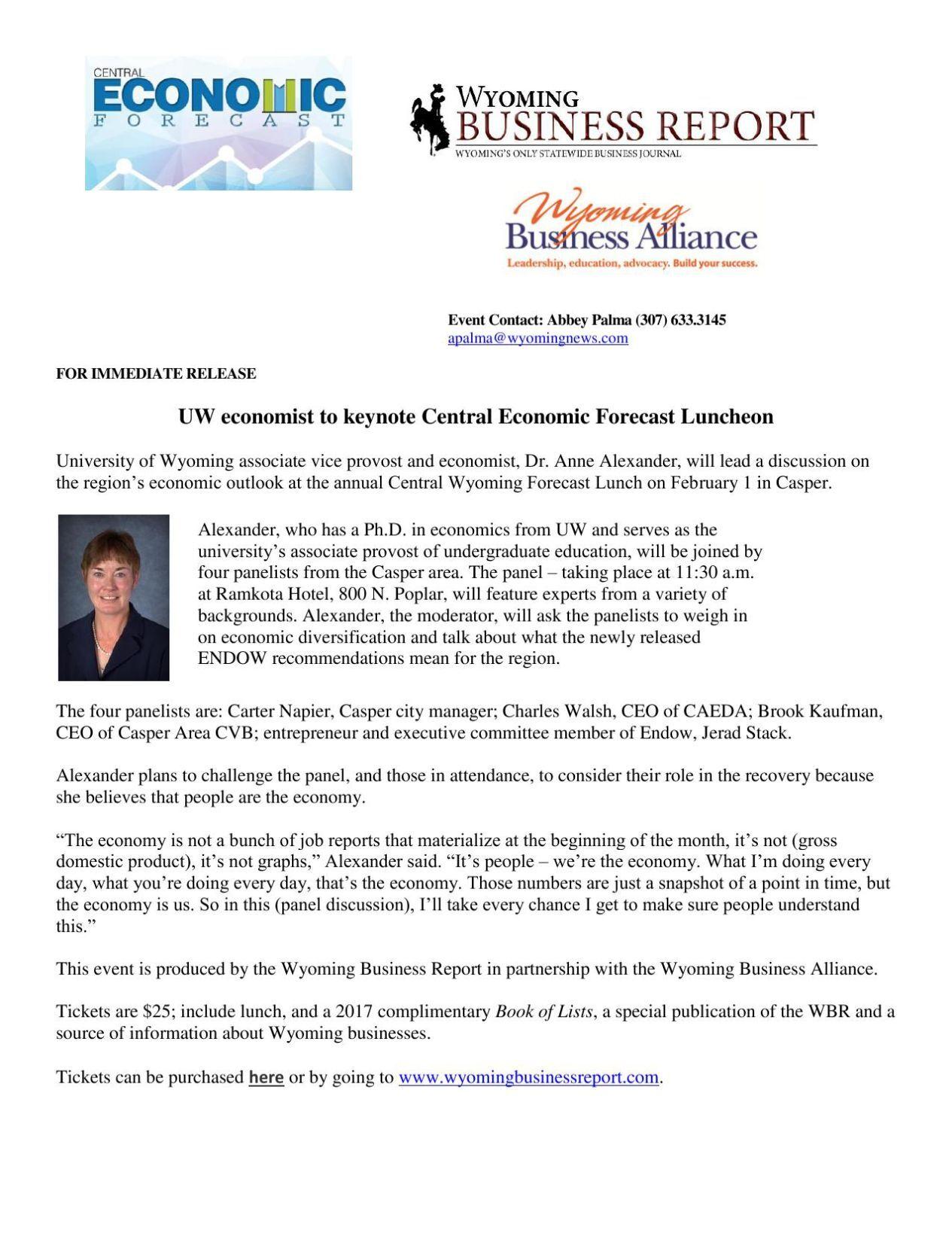 Central Economic Forecast Press Release