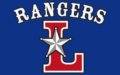 Laramie Rangers logo royal