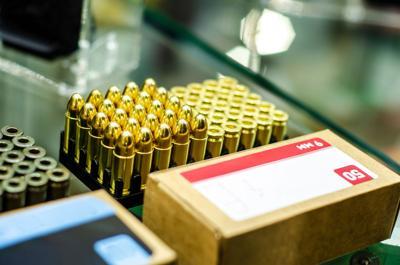 Close-up of box 9mm ammo