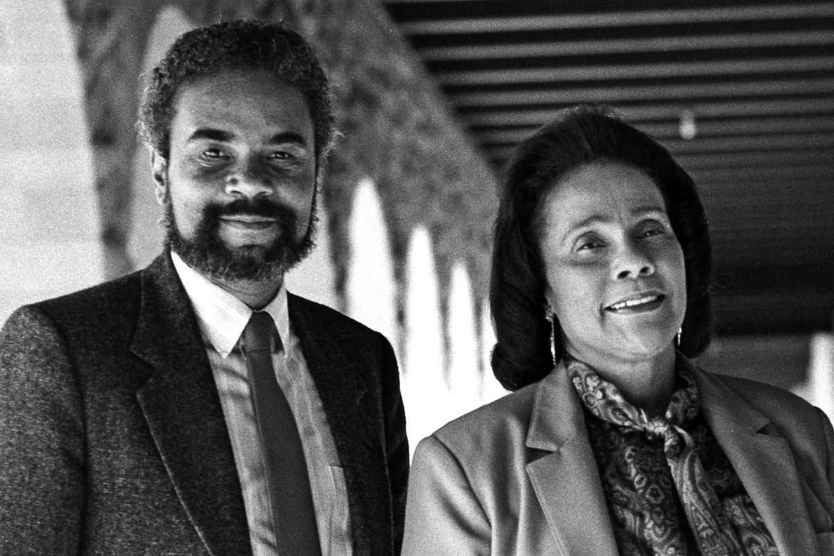 19861106 Coretta Scott King and Clayborne Carson (Stanford University)