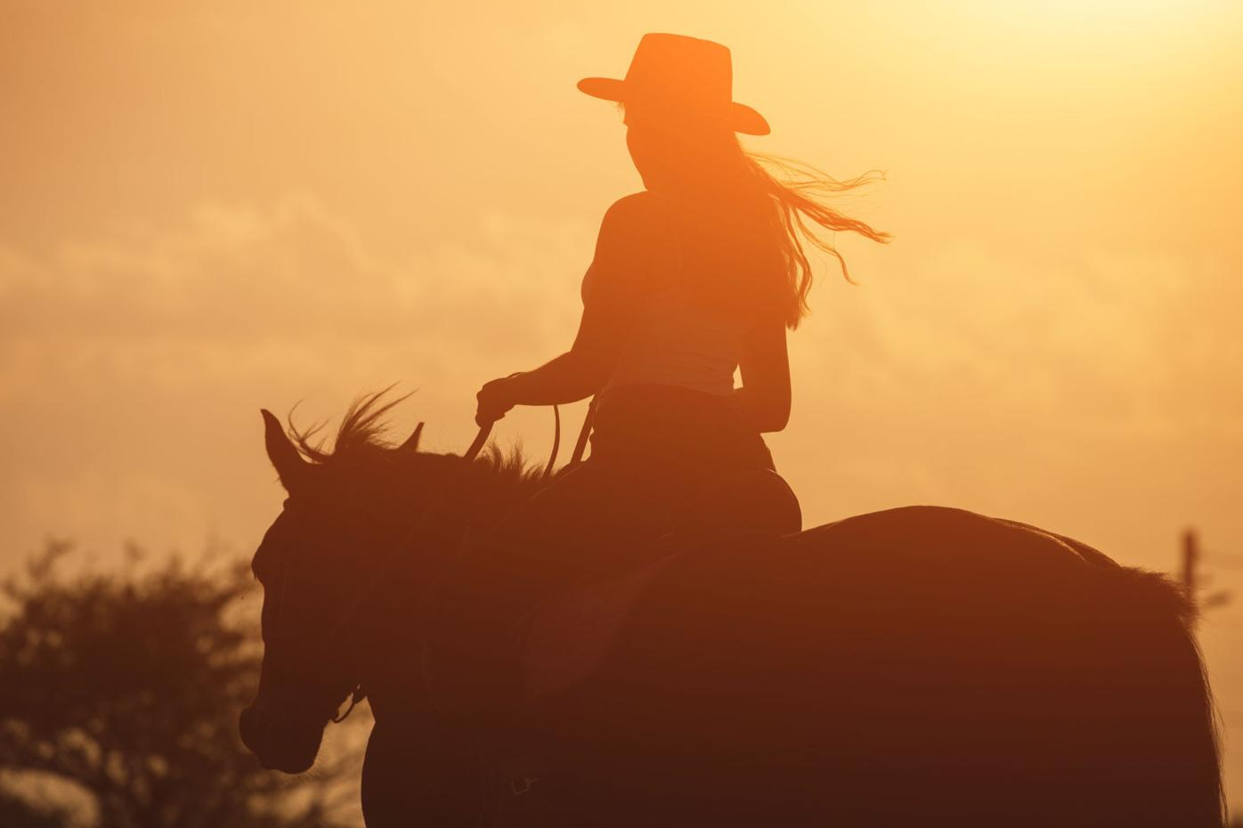 Sunset,Golden,Silhouette,Of,Young,Cowgirl,In,Hat,Riding,Her