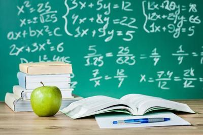 School classroom apple books stock photo