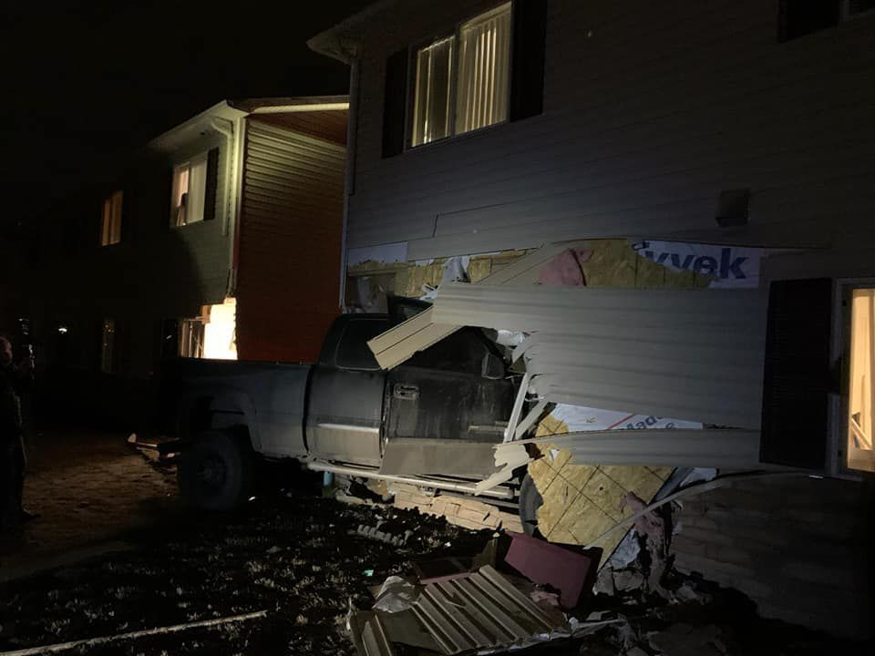 Truck into apartments 2 1-12-20