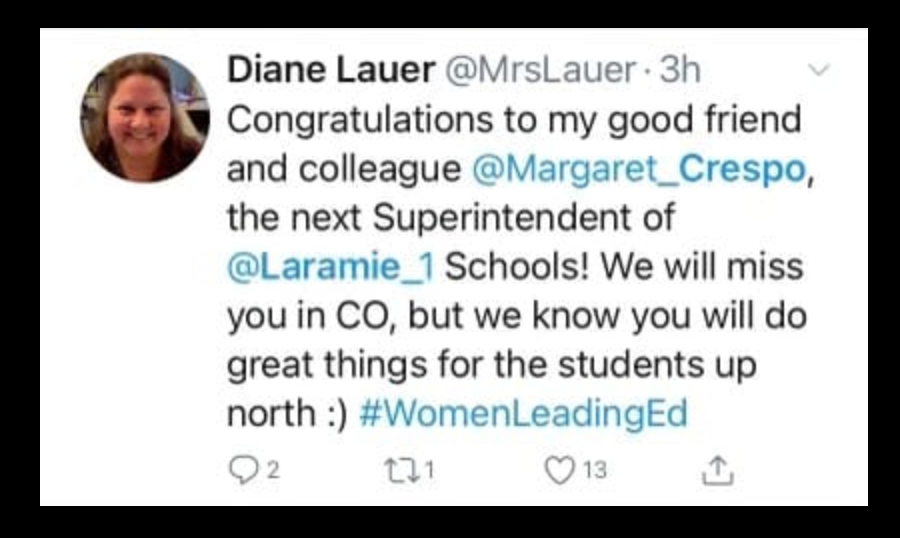 Tweet about LCSD1's new superintendent