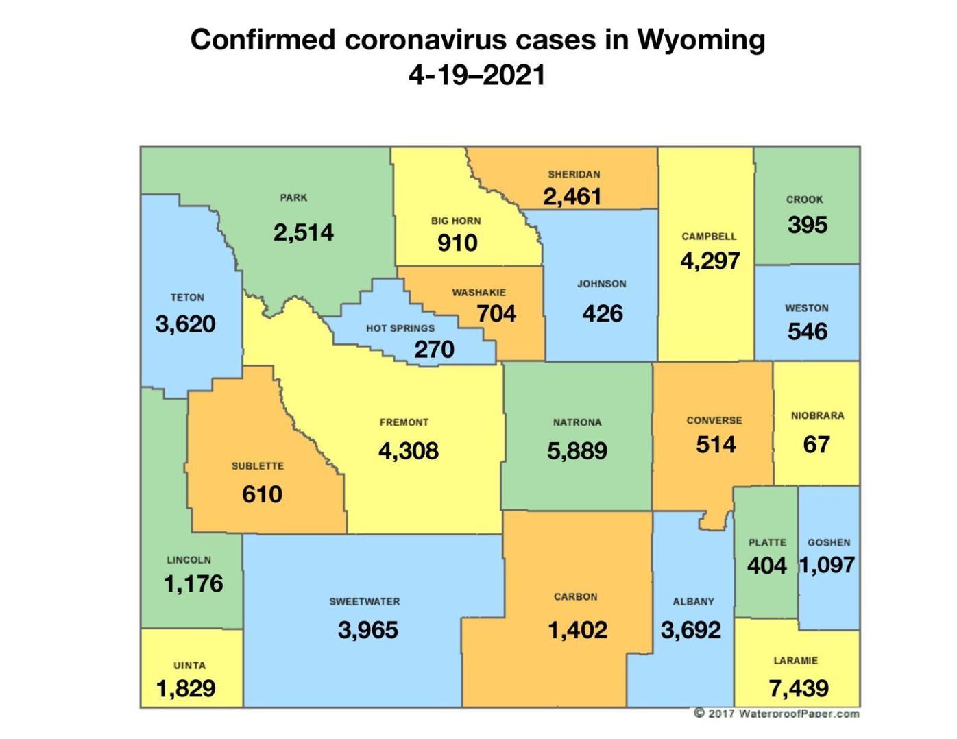 Confirmed coronavirus cases in Wyoming, 4-19-21