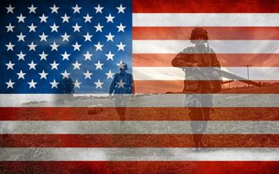 American flag soldiers stock photo