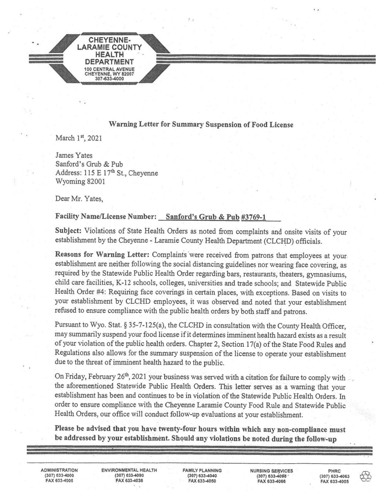 Warning Letter from City-County Health to Sanford's