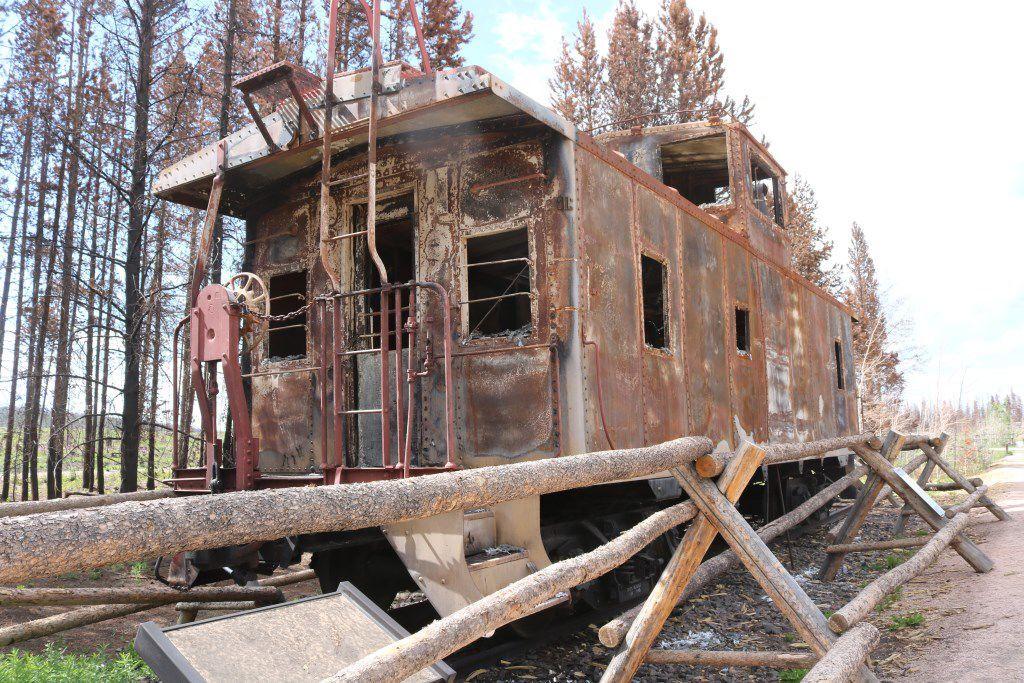 Burned caboose