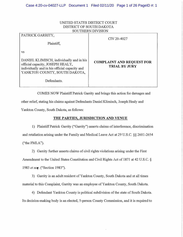 DOCUMENT: Pat Garrity v Klimisch, Healy and Yankton County