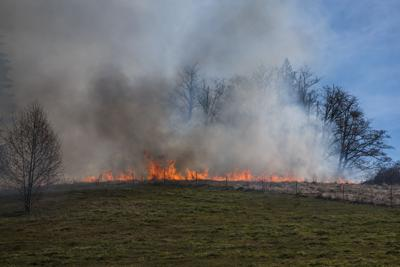 Crews Respond to a Brush Fire near Bear Ridge Road in Mossyrock