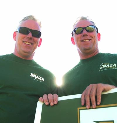 Brothers in law: Identical twins Rob and John Snaza run for