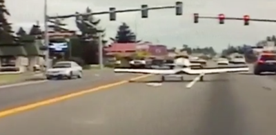 Plane Lands on Road
