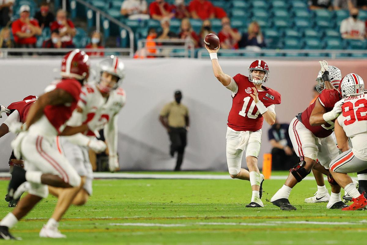 Mac Jones #10 of the Alabama Crimson Tide looks to pass during the second quarter of the College Football Playoff National Championship game against the Ohio State Buckeyes at Hard Rock Stadium on Jan. 11, 2021 in Miami Gardens, Florida.