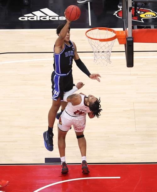 In this photo from January 23, 2021, Jalen Johnson of the Duke Blue Devils shoots the ball against the Louisville Cardinals at KFC YUM! Center on January 23, 2021 in Louisville, Kentucky. Johnson decided to declare for the NBA Draft and no longer play for the Blue Devils this season.