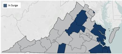 Surge areas in Virginia