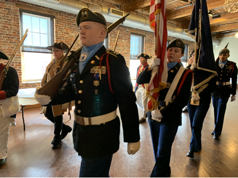 Color guard at Crossing of the Dan